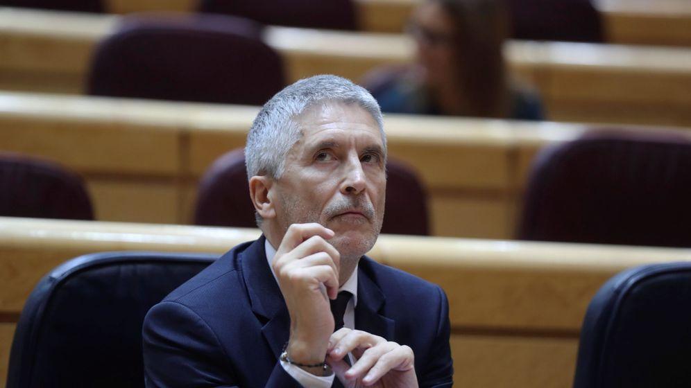 Foto: El ministro del Interior, Fernando Grande-Marlaska, durante la sesión de control al Gobierno celebrada este martes en el Senado. (EFE)