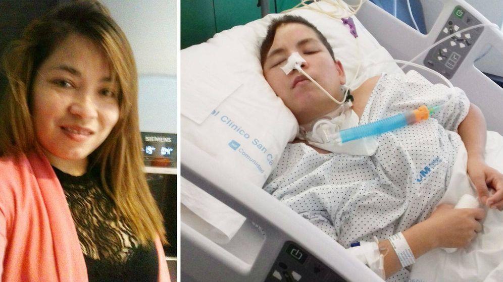 Foto: Nory Elisabeth, antes del accidente y en la cama del hospital Clínico.