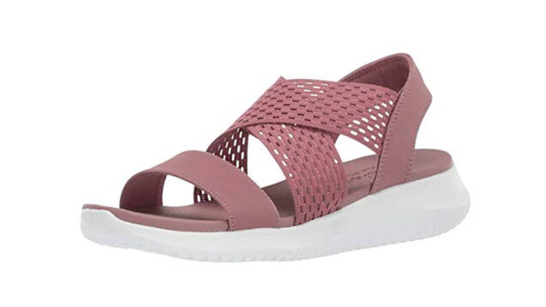 Sandalias Skechers Ultra Flex-Neon Star, sandalias de punta descubierta para mujer
