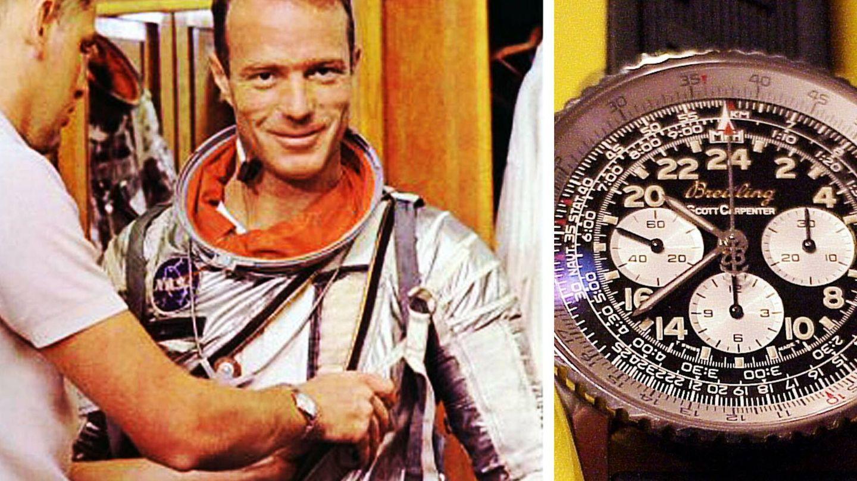 Scott Carpenter, junto al reloj que llevó. (Foto: Breitling Museum)