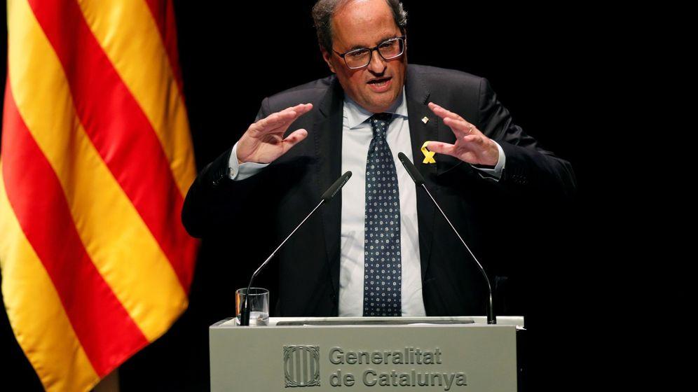 Foto: El presidente de la Generalitat, Quim Torra, durante la conferencia. (EFE)