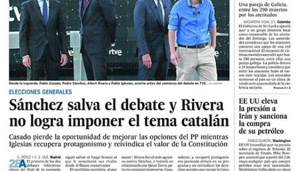 El debate de Sánchez, Iglesias, Rivera y Casado, protagonista absoluto de la prensa