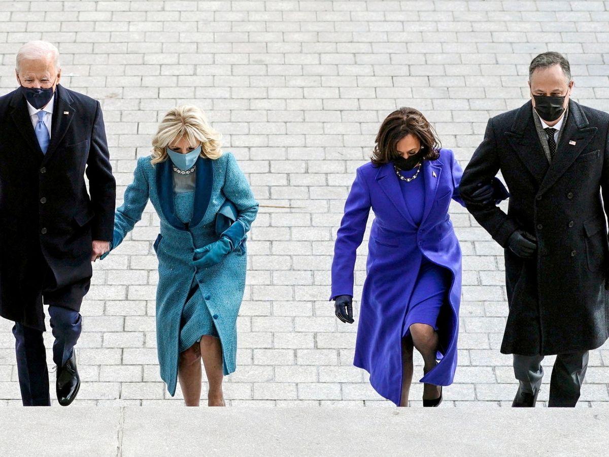 Foto: Joe y Jill Biden, Kamala Harris y Doug Emhoff. (Reuters)