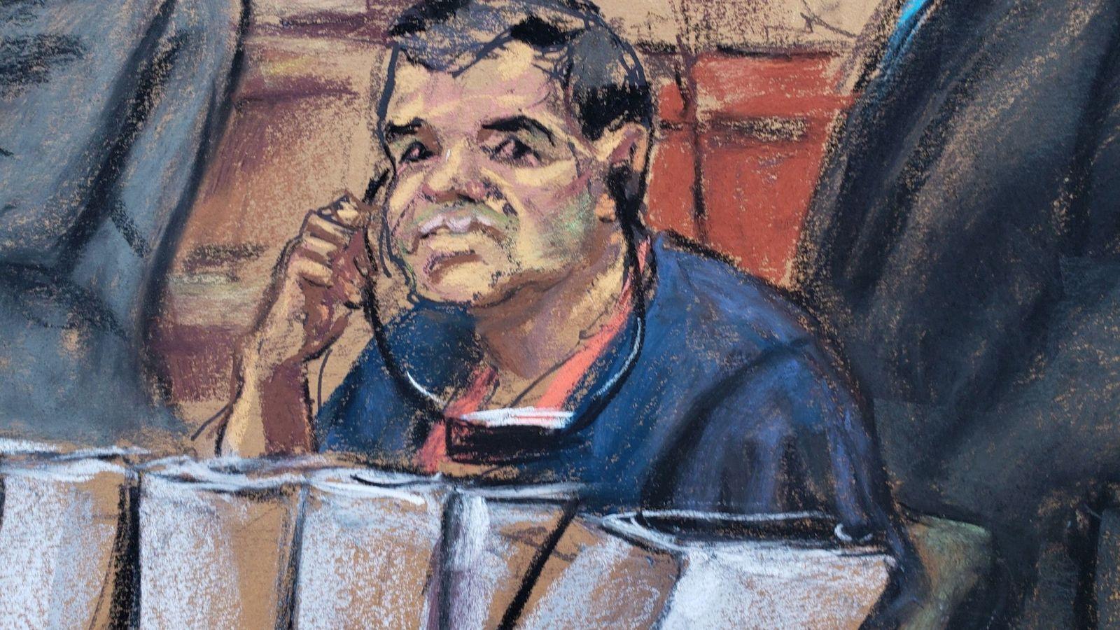 Foto: El narcotraficante mexicano Joaquín 'El Chapo' Guzmán durante su comparecencia ante un juez de la corte del distrito sur en Brooklyn. (EFE)