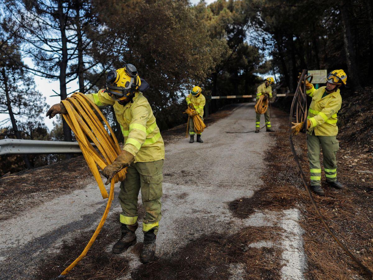 Foto: Los bomberos trabajan en Sierra Bermeja en las labores de extinción de incendios. (Reuters)