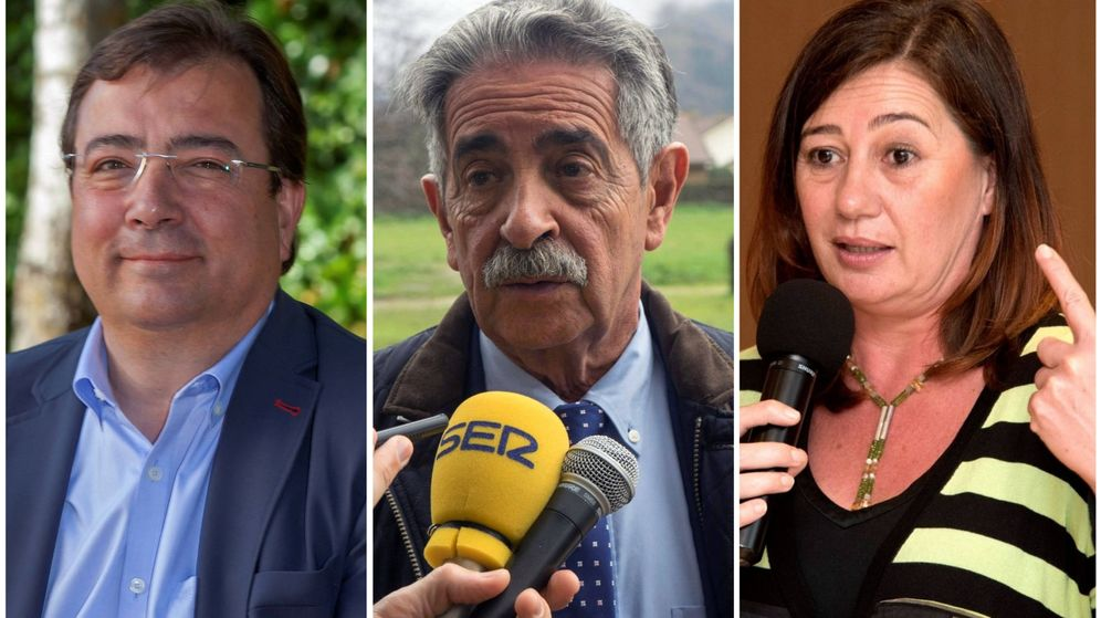 Foto: Fernández Vara, Miguel Ángel Revilla y Francina Armengol. (El Confidencial)