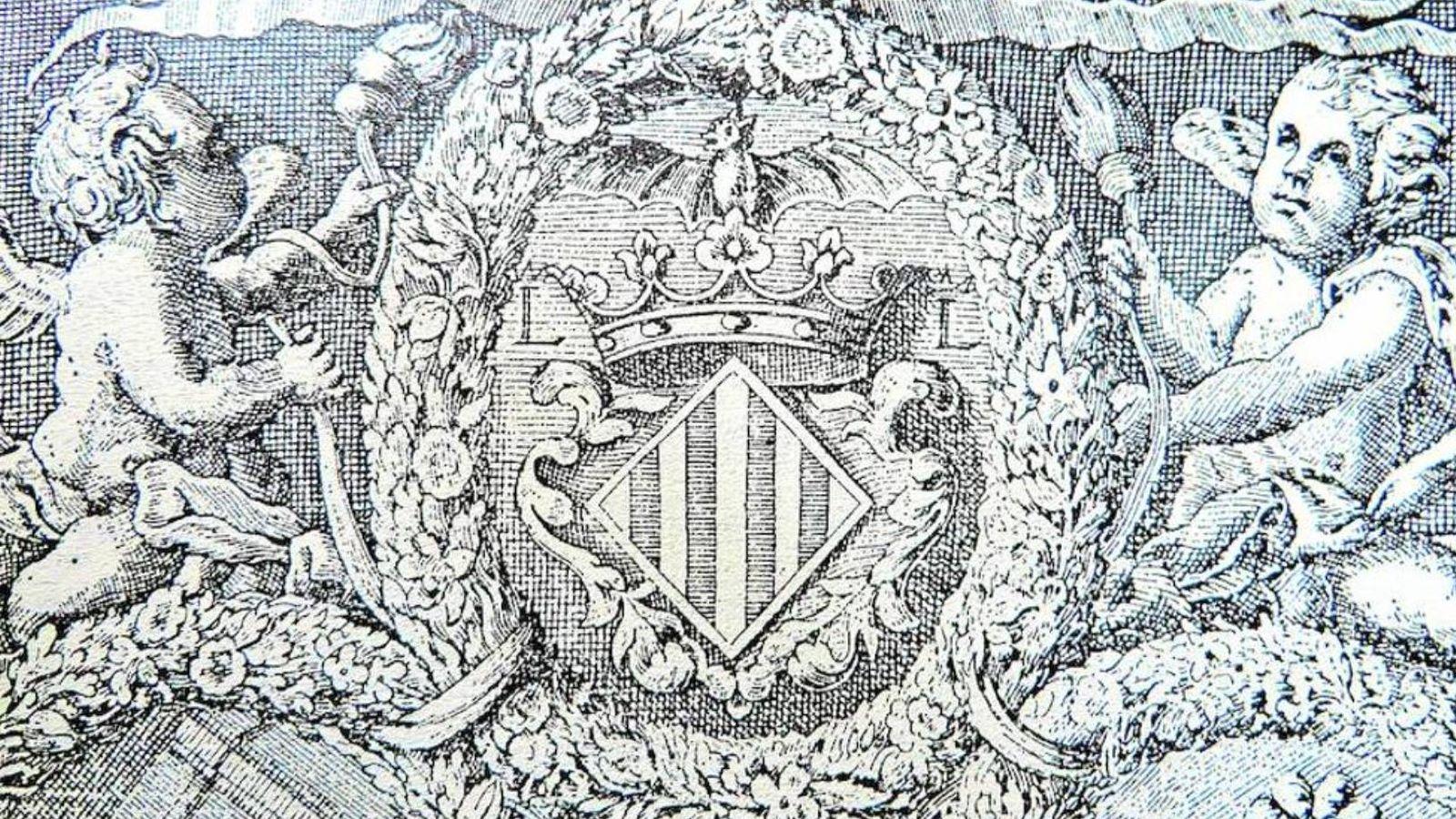 Foto: Grabado del escudo de Valencia difundido por Las Provincias, con el murciélago, en el libro 'Fàbrica de Murs i Valls', de 1674.