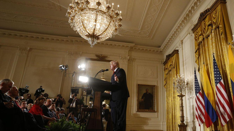 Foto: Donald Trump durante una rueda de prensa conjunta con el presidente de Colombia, en Washington, el 18 de mayo de 2017. (Reuters)