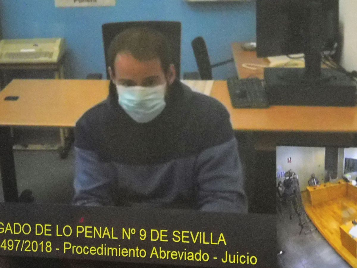 Foto: Captura de la pantalla del Juzgado de lo Penal número 9 de Sevilla del rapero Pablo Hasél. (EFE)