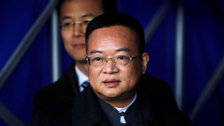 Chen Yansheng, presidente del Espanyol, este domingo en Cornellà. (EFE)