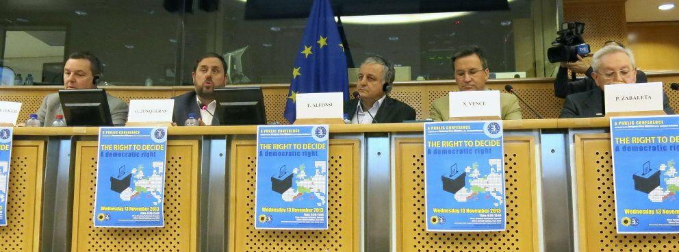Junqueras en la conferencia 'El derecho a decidir. Un derecho democrático'. (EFE)