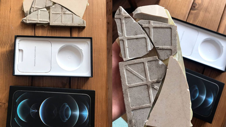 Compra un iPhone 12 Pro Max y le mandan un paquete con un azulejo roto en su interior