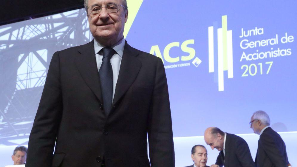 Foto: El presidente de ACS, Florentino Pérez, a su llegada a la Junta de Accionistas de la compañía. (EFE)