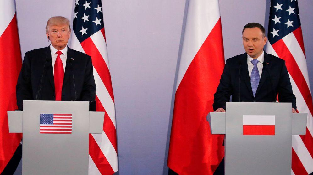 Foto: Donald Trump y Andrzej Duda durante la rueda de prensa en Varsovia esta mañana. (REUTERS)