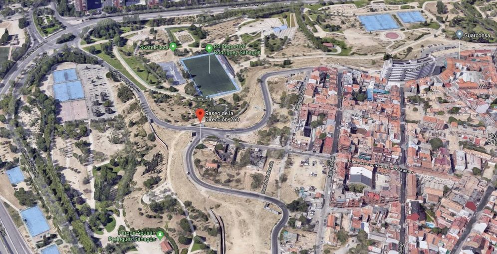 Foto: Dragados vendió dos de las siete parcelas cedidas por el ayuntamiento en el distrito de Tetuán. (Google)