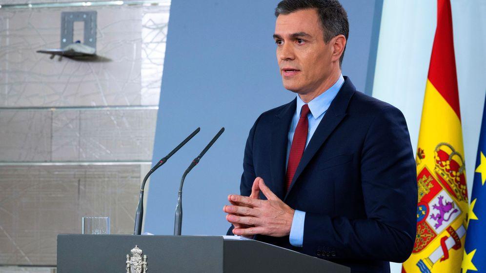 Foto: El presidente Sánchez, durante la comparencia este sábado. (EFE)