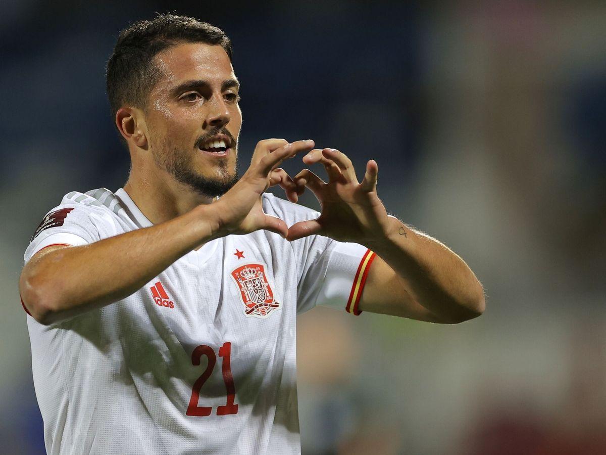 Foto: Pablo Fornals celebra el gol marcado a Kosovo. (EFE)