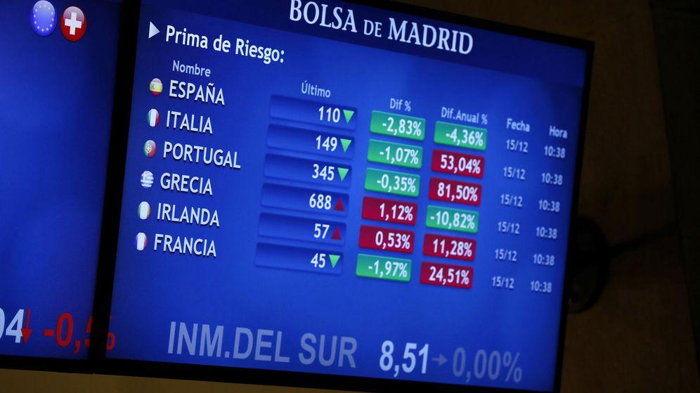 Foto: Monitor de las primas de riesgo en la Bolsa de Madrid. (EFE)