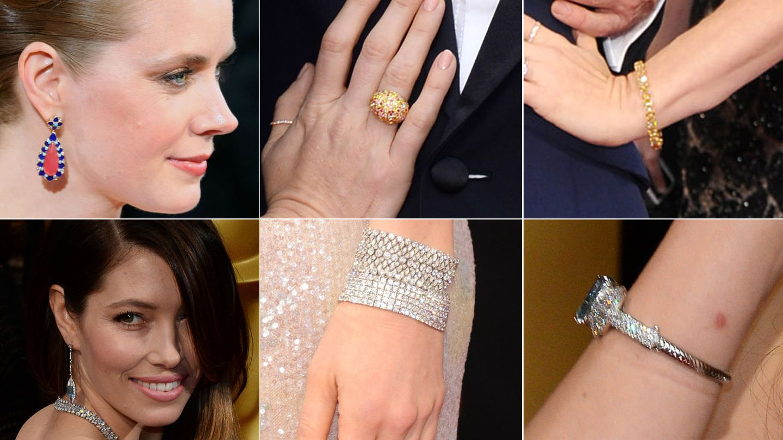 Arriba, las joyas de Amy Adams. Abajo, las de Jessica Biel. (I.C.)