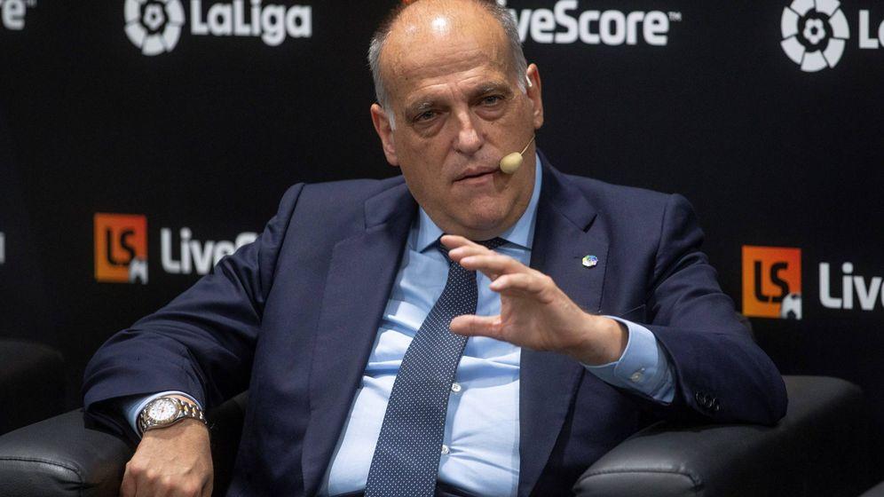 Foto: Javier Tebas, presidente de LaLiga, durante un acto reciente. (EFE)