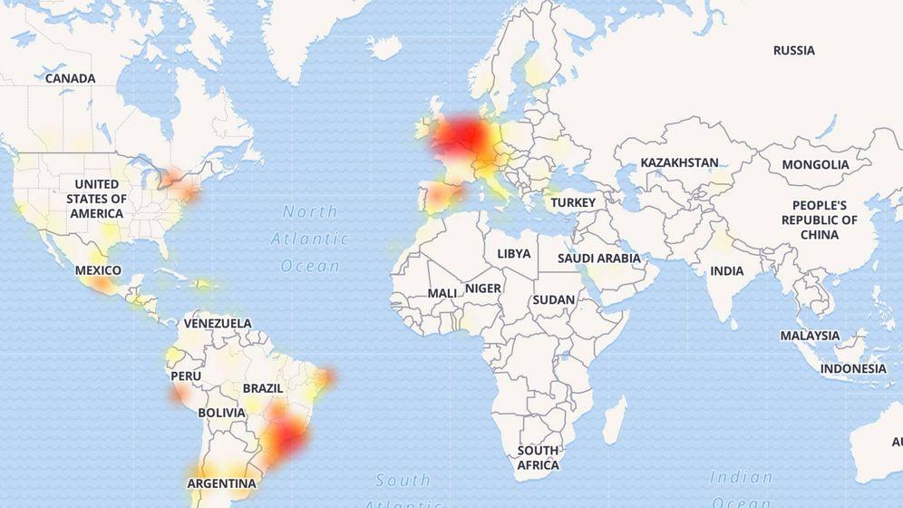 Foto: La caída mundial de WhatsApp: en rojo y amarillo, países afectados. (Imagen: DownDetector)