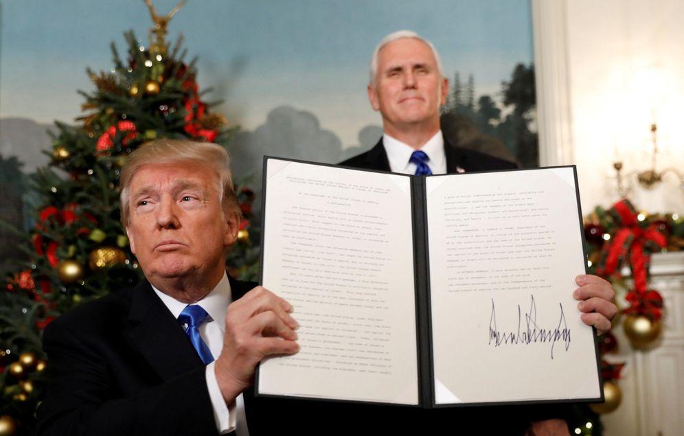 Foto: Trump durante el anuncio del reconocimiento oficial de Jerusalén como capital de Israel, en la Casa Blanca. (Reuters)