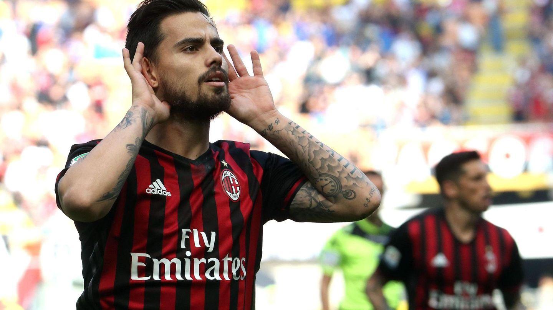 Suso celebra un gol marcado con el Milan. (EFE)