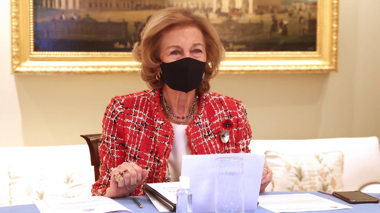 La reina Sofía, con el broche. (Foto. Casa Real)