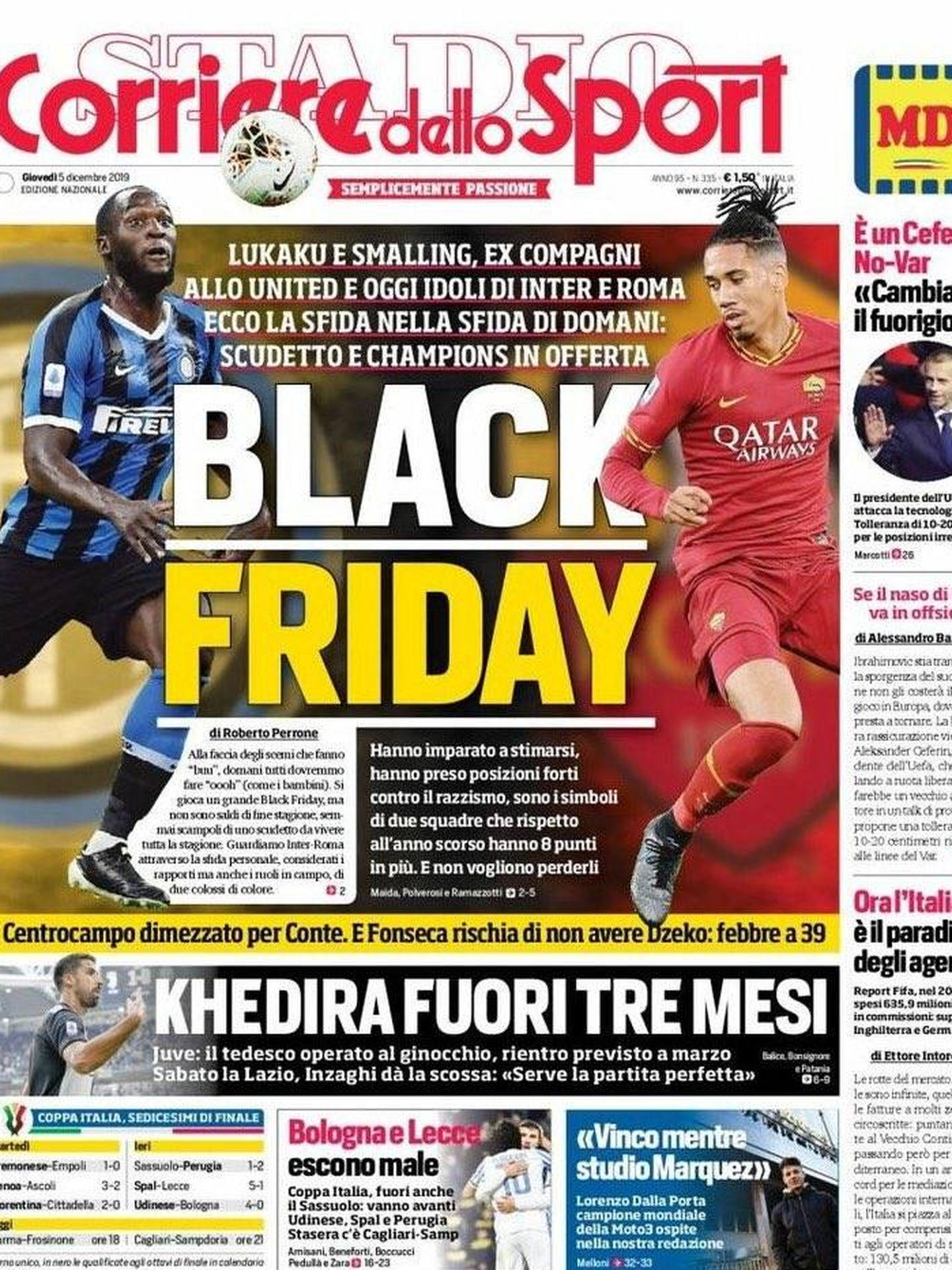 Portada del 'Corriere dello Sport' del 5 de diciembre de 2019.