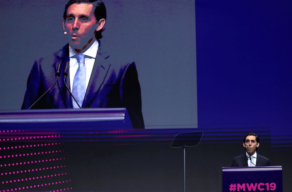 Foto: José María Álvarez-Pallete durante su intervención esta mañana en el MWC. (Reuters)