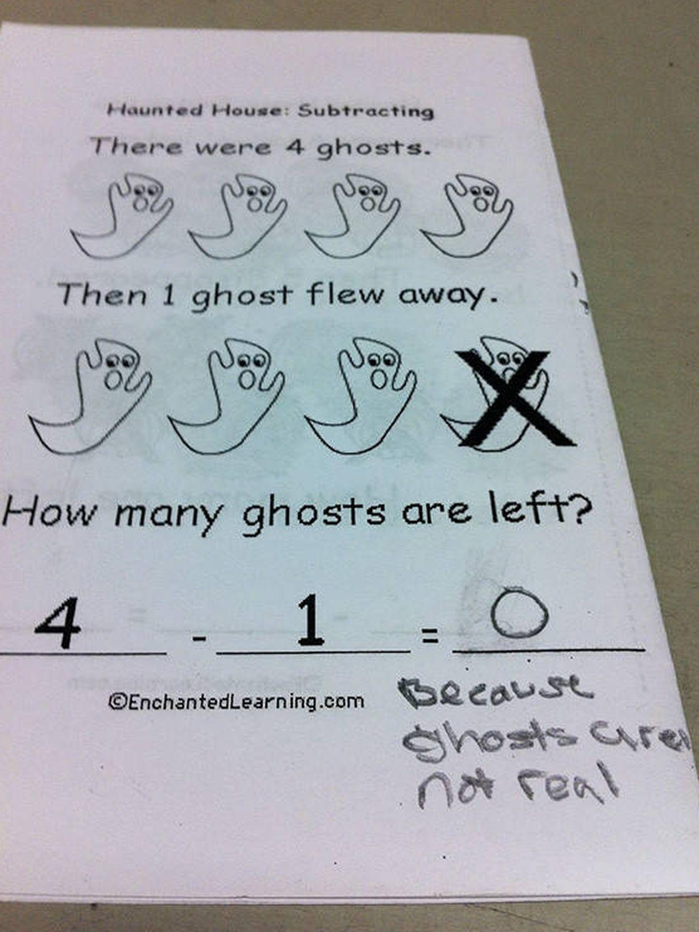 '0, porque los fantasmas no existen'.