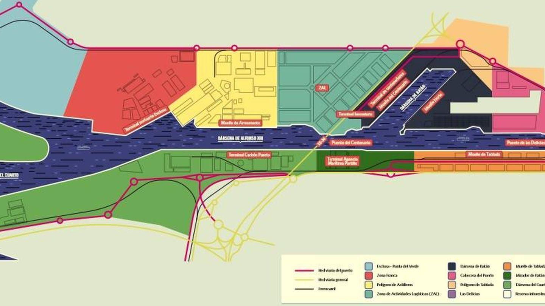 Plano del puerto de Sevilla, con la zona franca actual —en rojo— y la zona de ampliación al polígono Astilleros —en amarillo—. (APS)