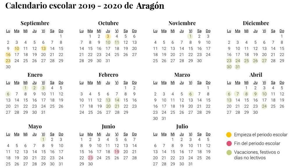 Foto: Calendario escolar 2019-2020 en Aragón (El Confidencial)