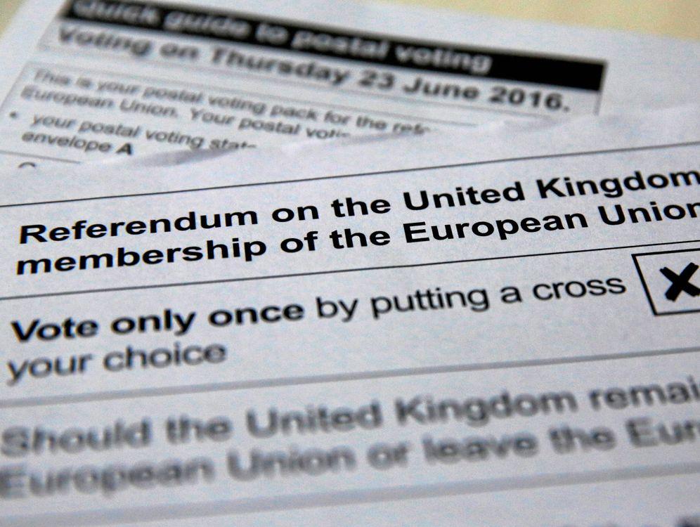 Foto: Imagen de una papeleta del referéndum de permanencia en la UE del próximo día 23 (Reuters).