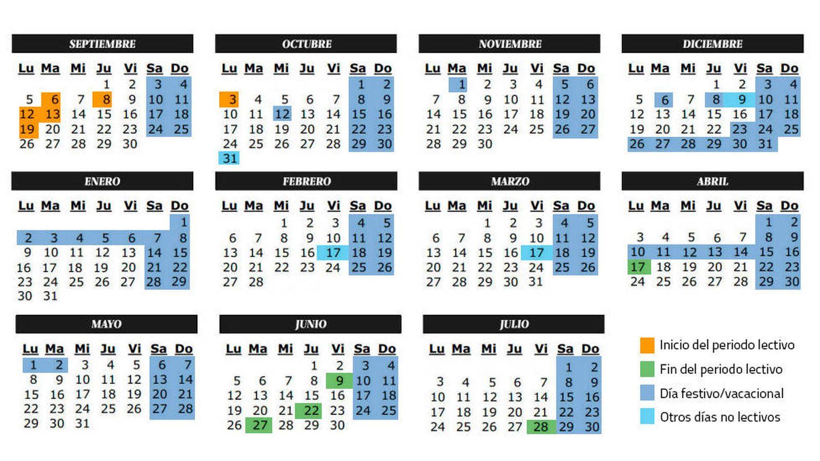 Famoso Plantilla Anual De Calendario Escolar Elaboración - Ejemplo ...