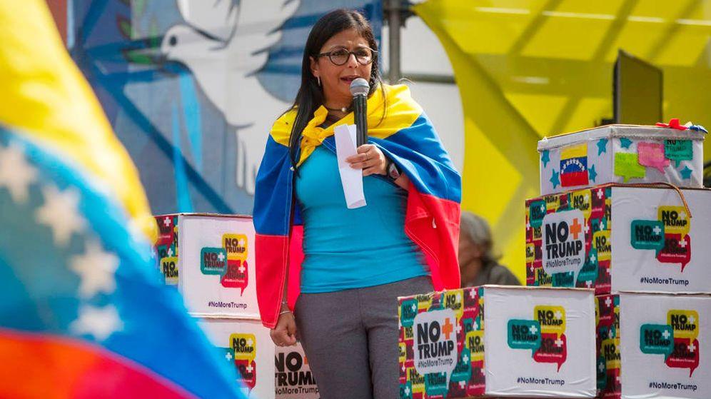 Foto: Delcy Rodríguez durante un mitin en Caracas. (EFE)
