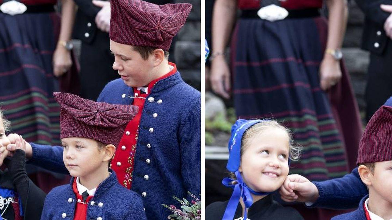 Christian cuidando de sus hermanos pequeños, Josephine y Vincent. (Cordon Press)