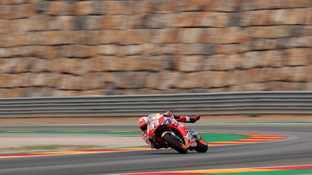Foto: Marc Márquez, equilibrista en el GP de Aragón. (Reuters)