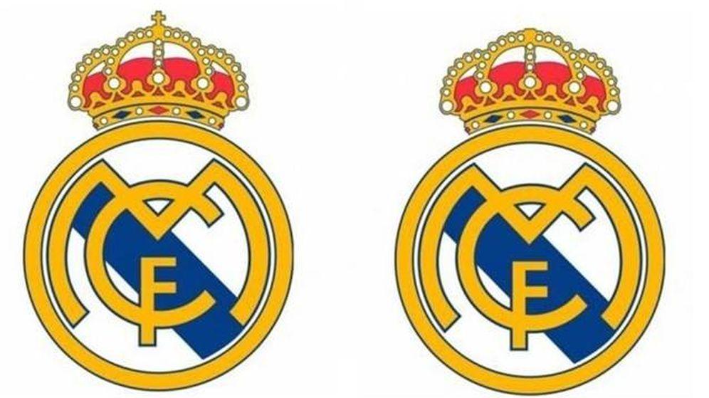 Foto: El escudo del Real Madrid original y el que no lleva la cruz