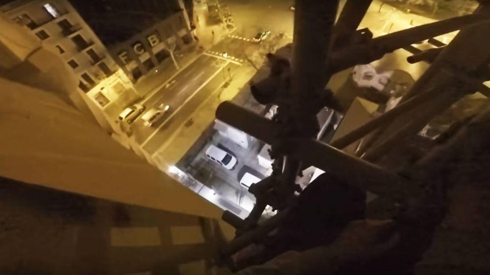 Foto: Captura del vídeo de la ascensión a la Sagrada Familia.