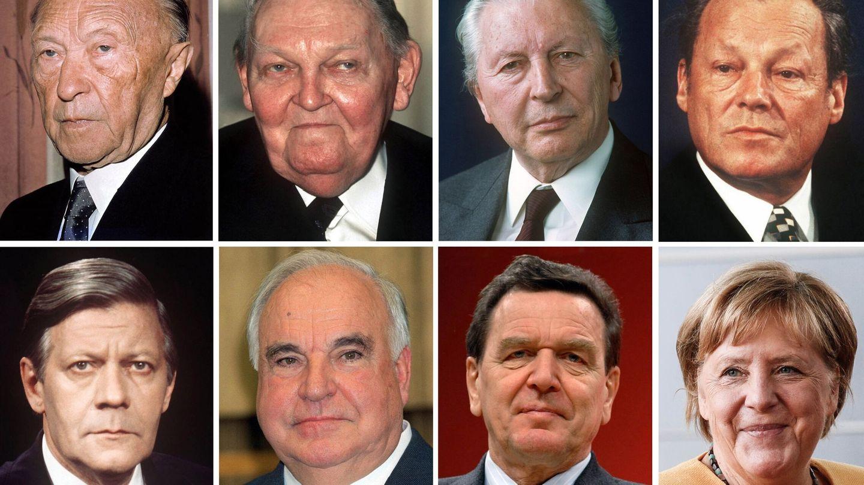 Los cancilleres alemanes: Konrad Adenauer, Ludwig Erhard, Kurt Georg Kiesinger, Willy Brandt, Helmut Schmidt, Helmut Kohl, Gerhard Schroeder y Angela Merkel. (EFE)