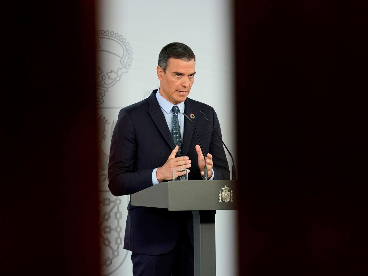 Foto: Pedro Sánchez, durante una comparecencia desde el Palacio de la Moncloa (Reuters)