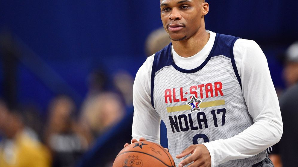 Foto: Westbrook, en un entrenamiento del all-star (EFE)