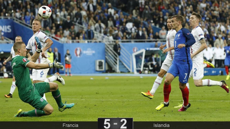 Foto: Griezmann bate al portero de Islandia para marcar el 4-0 (EFE)