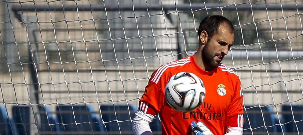 Foto: Diego López, durante un entrenamiento con el Real Madrid (EFE)