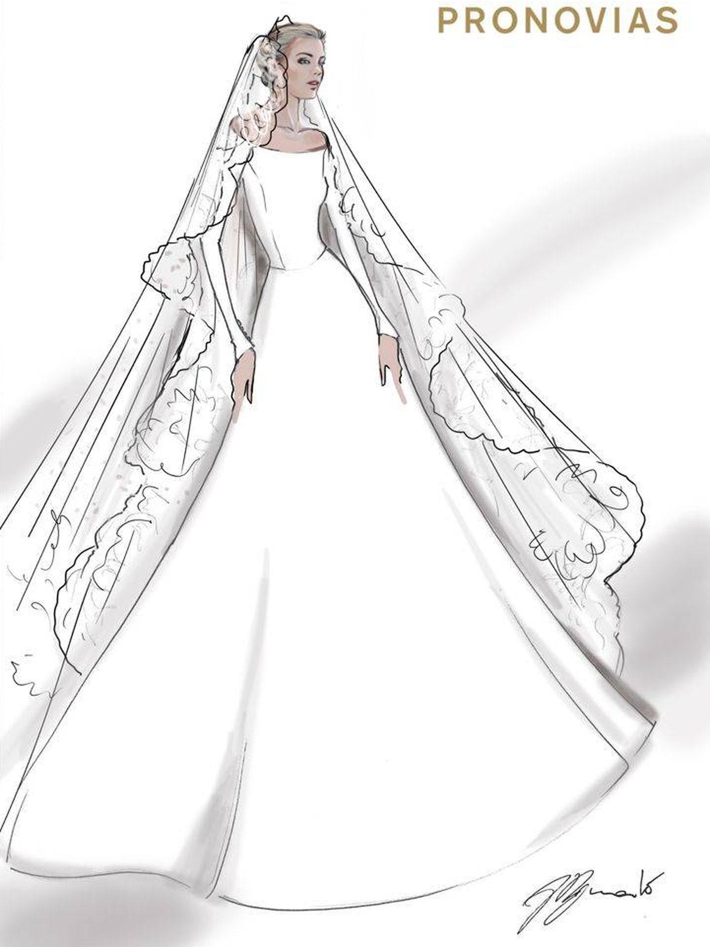 Boceto del vestido para la ceremonia. (Pronovias)
