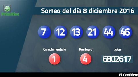 Resultados del sorteo de la Primitiva del 8 diciembre 2016: números 7, 12, 13, 21, 44, 46