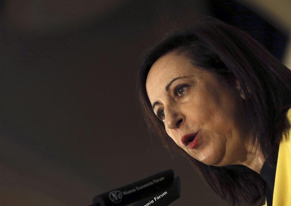 Foto: Margarita Robles, número dos por Madrid del PSOE, este 23 de mayo en la presentación del desayuno de Pedro Sánchez. (EFE)