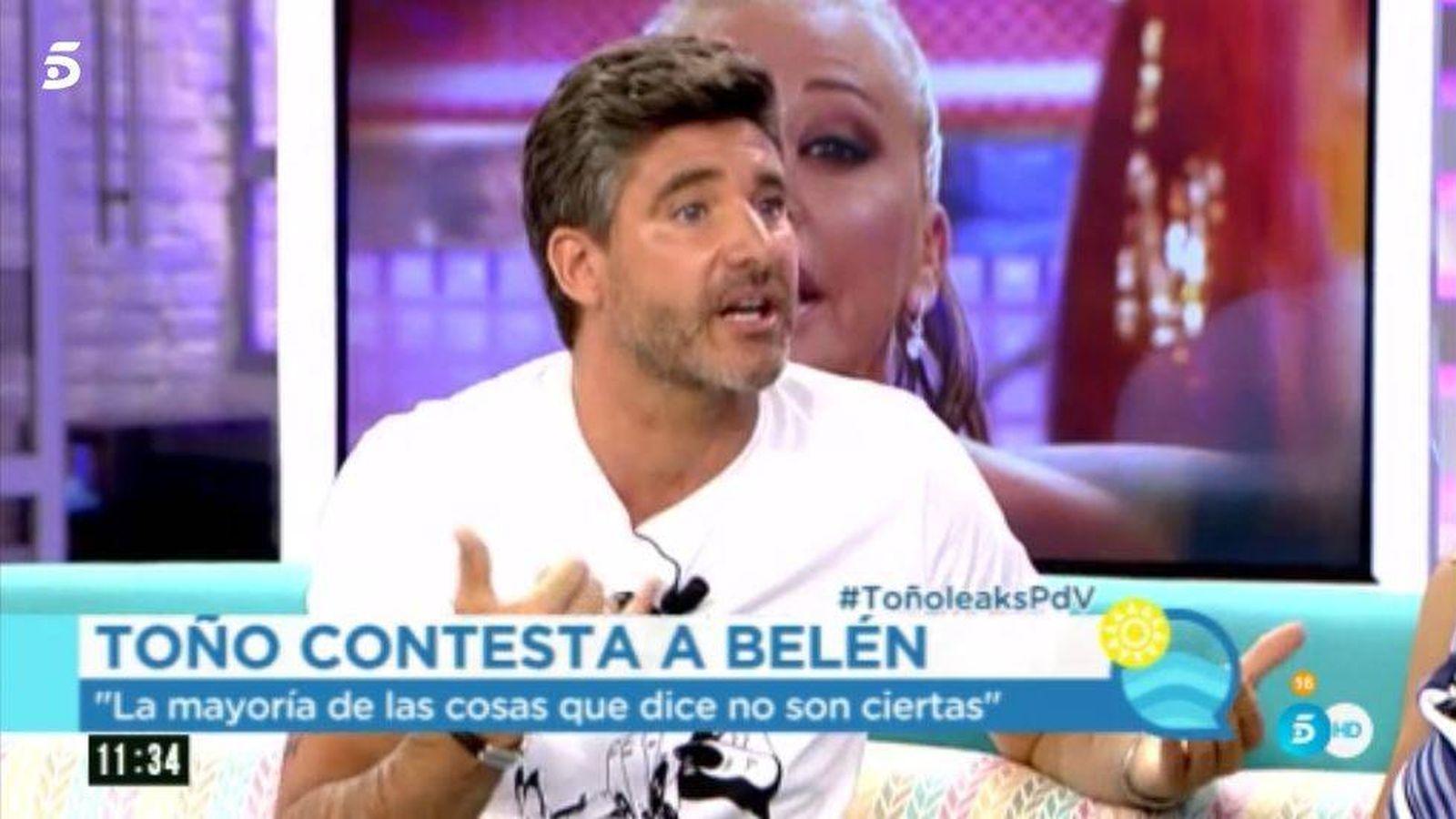 Foto: Toño Sanchís contesta de nuevo a Belén en 'El programa del verano'.