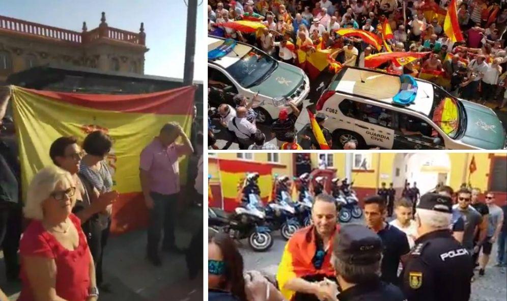 Foto: Gritos de ánimo y banderas españolas para apoyar a la Policía Nacional y la Guardia Civil.